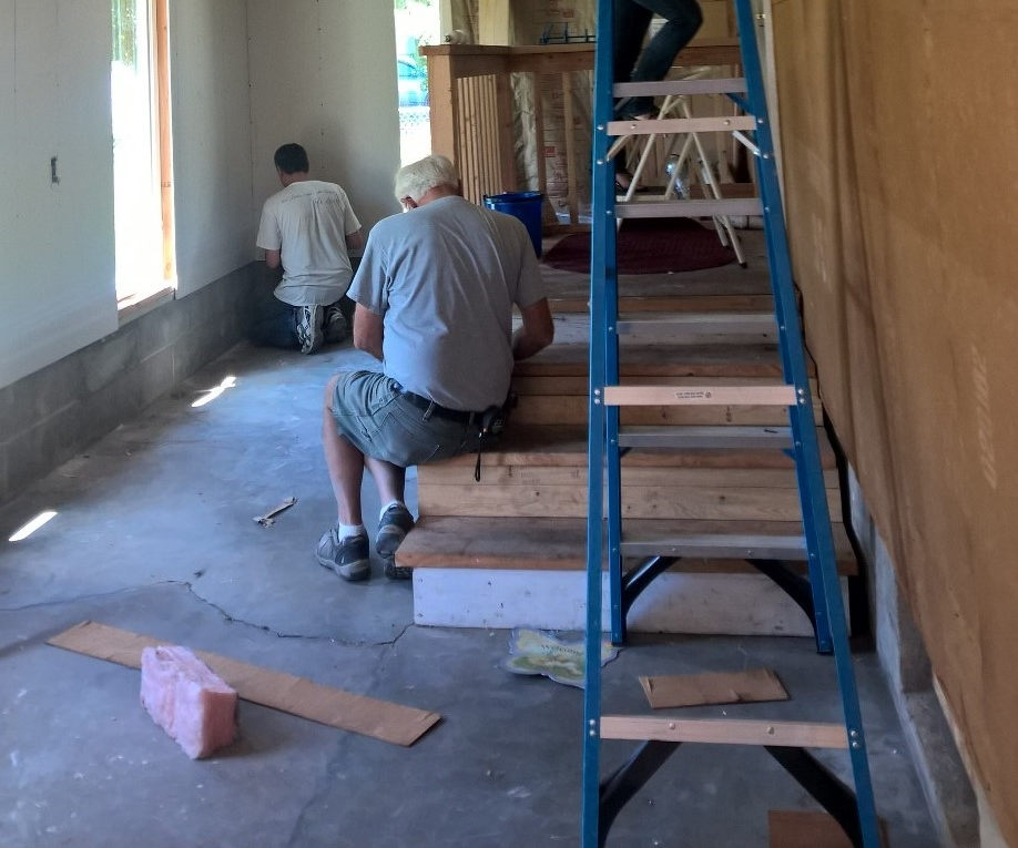 John Thompson & Daniel Brasher spent hours measuring, drywalling, and mudding the space!