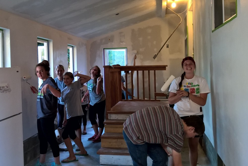 This LDS Student Group spent an evening priming the walls!
