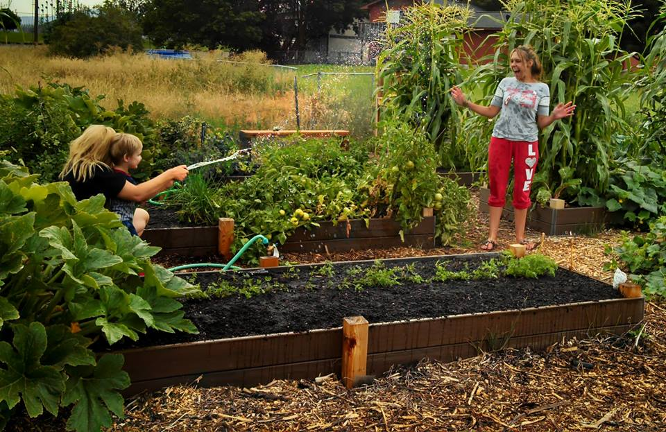 Water fights amidst gardening Fun!