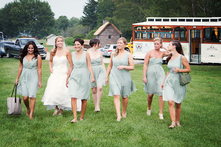 Maine Wedding Photographer the girls arrive fort william henry jcrew bridesmaids dresses.jpg