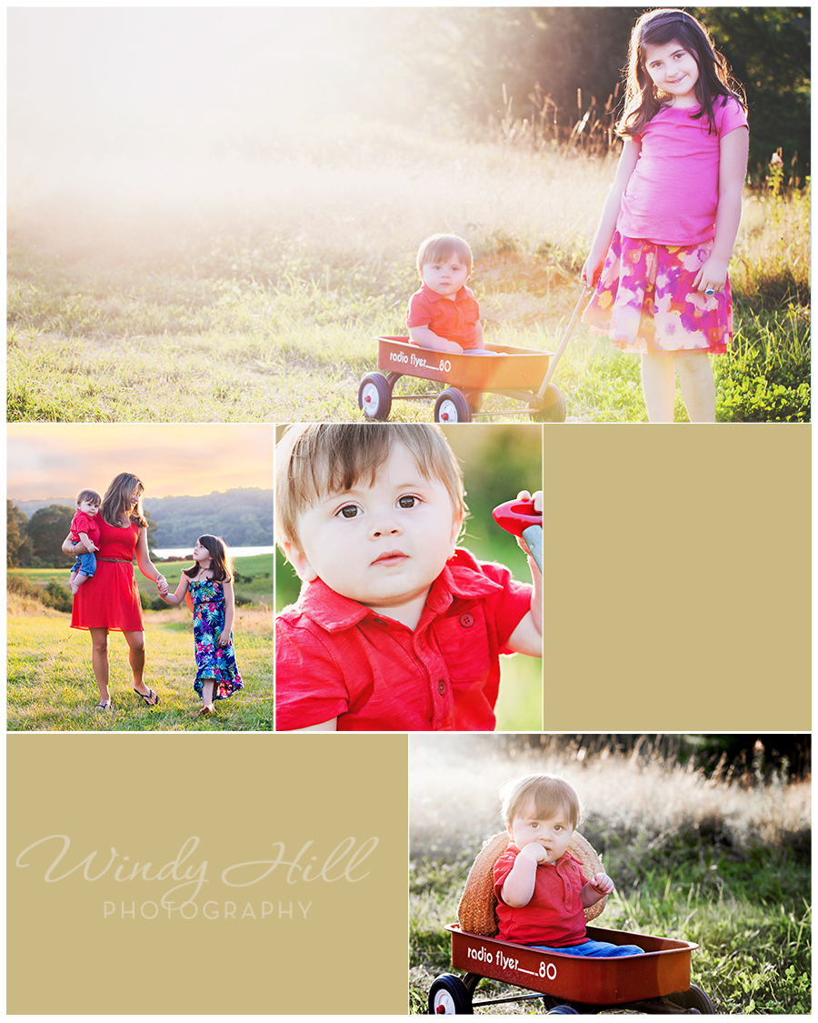maine family photographer field sunset sister and brother red wagon.jpg