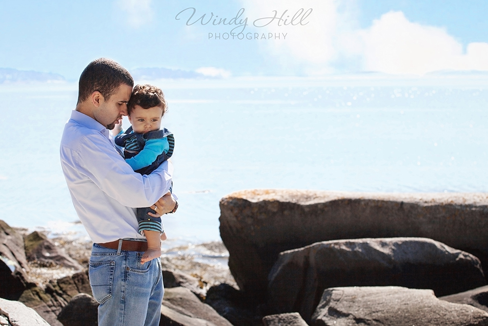 Maine Family Photographer father and son coast blue sky.jpg