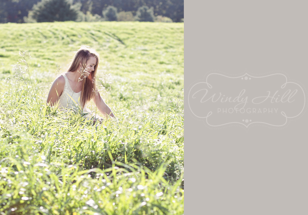 Maine Senior Photographer romantic girl in field profile.jpg