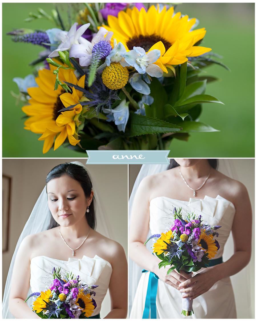 Maine Midcoast Wedding Photographer bride bouquet sunflowers teal sash.jpg