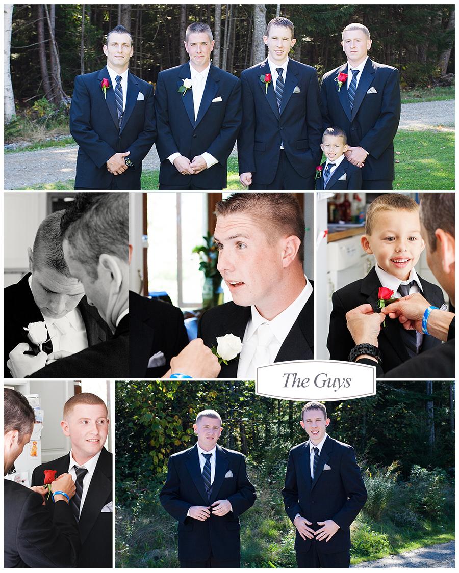 Maine Wedding Photographer groom getting ready groomsmen ring bearer red roses.jpg