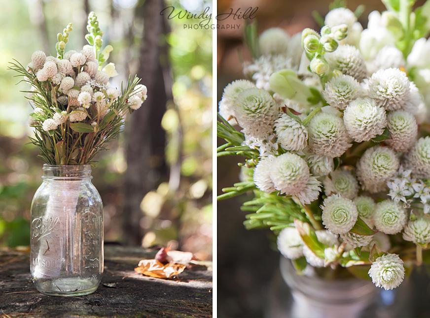 bridal bouquet rosemary snapdragons mason jar