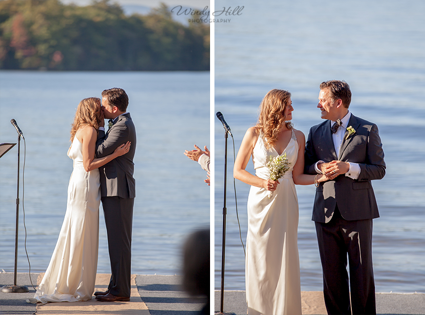 the first kiss walking down the aisle