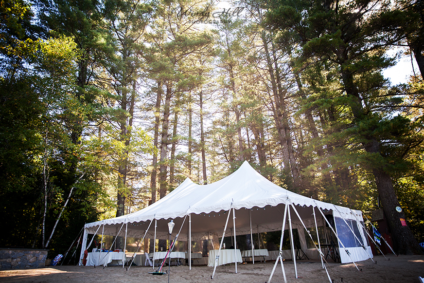 tent in the pines Maine wedding photographer