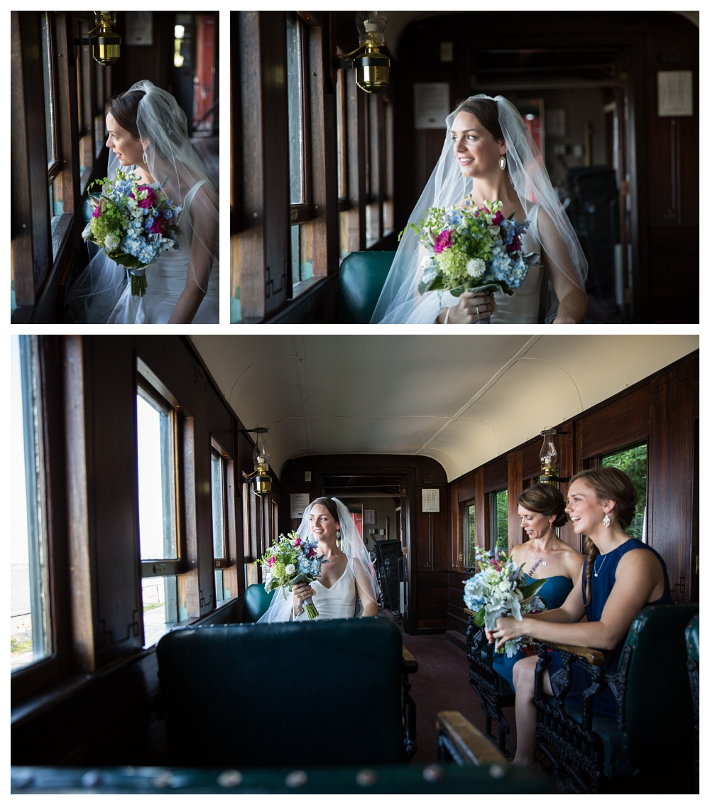 Maine Wedding Photographers riding train bride and bridesmaids
