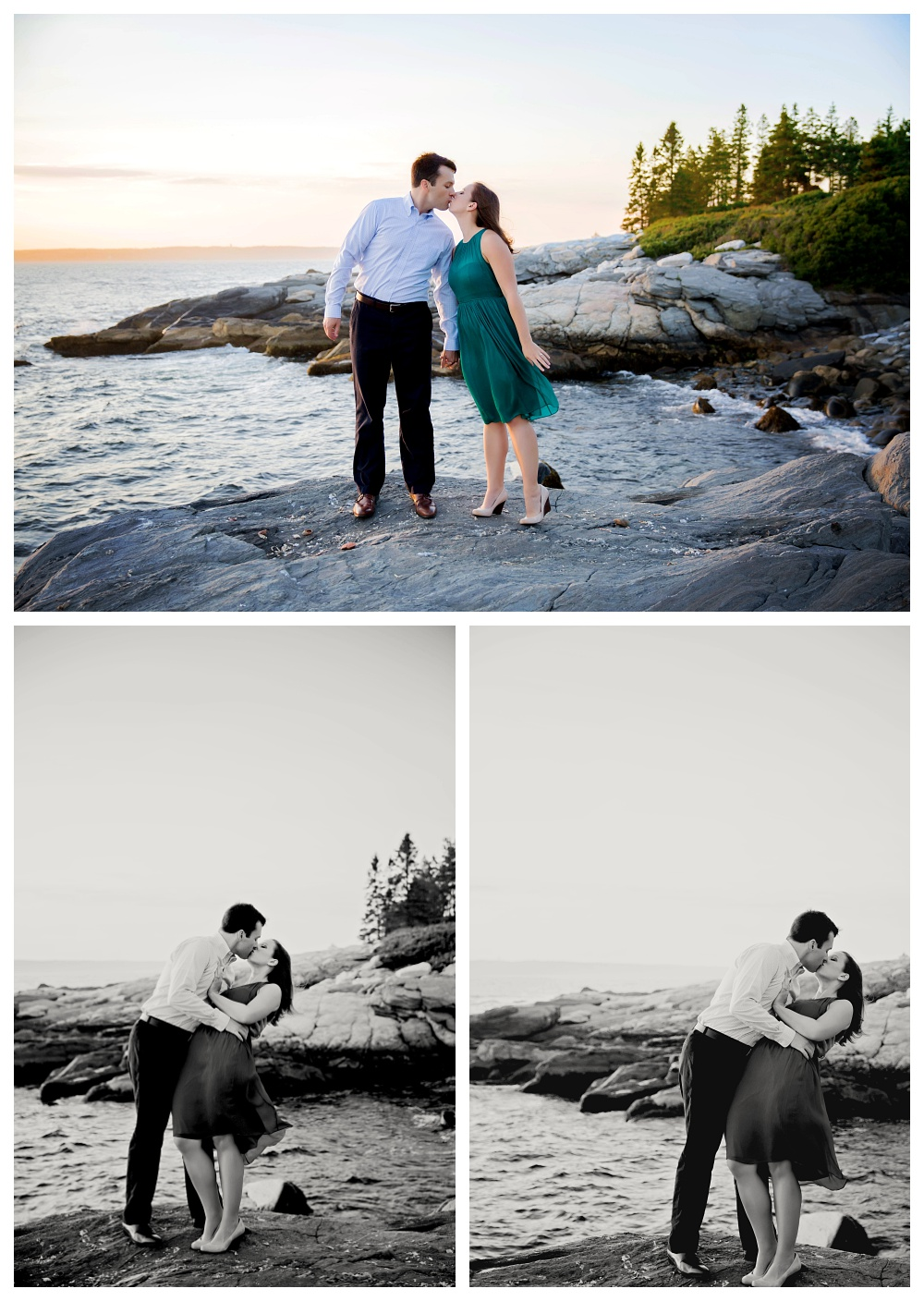 maine wedding photographer engagement photos sunset kiss.jpg
