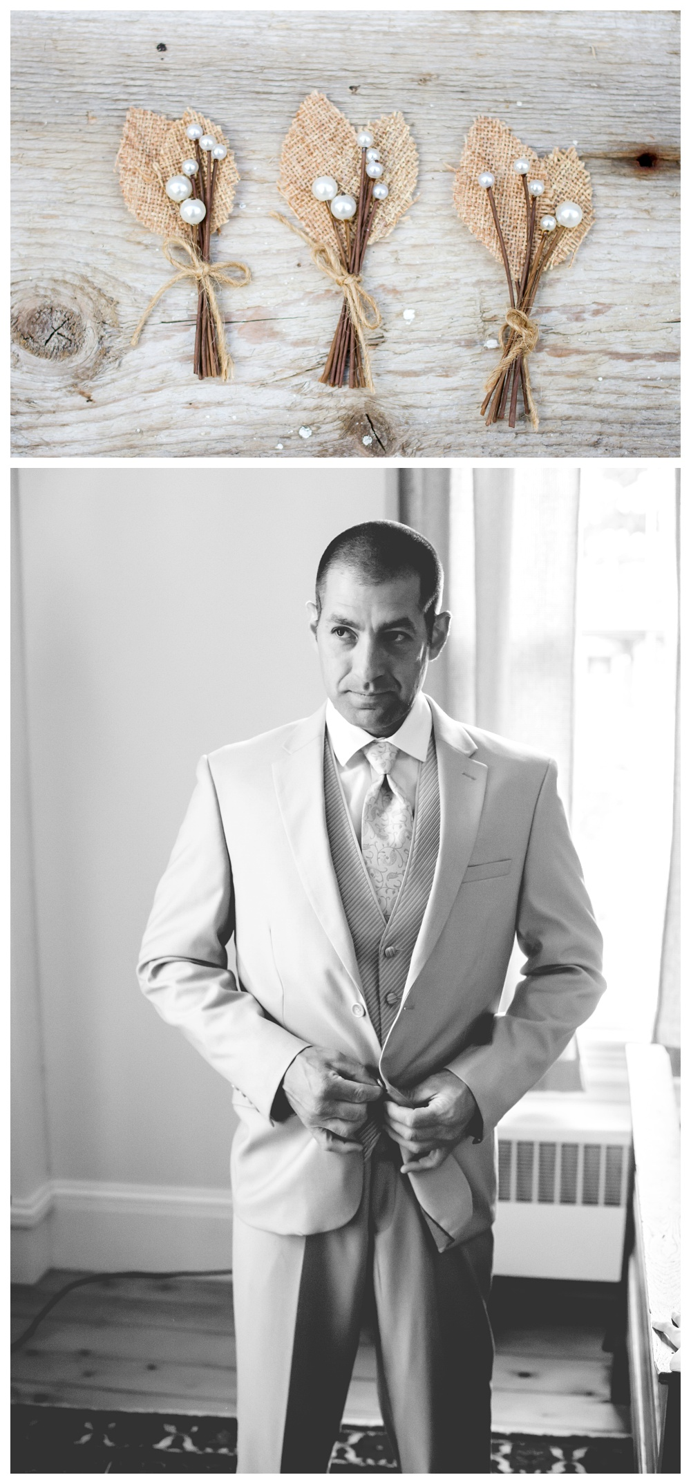 Maine Wedding Photographer Groom tan suit