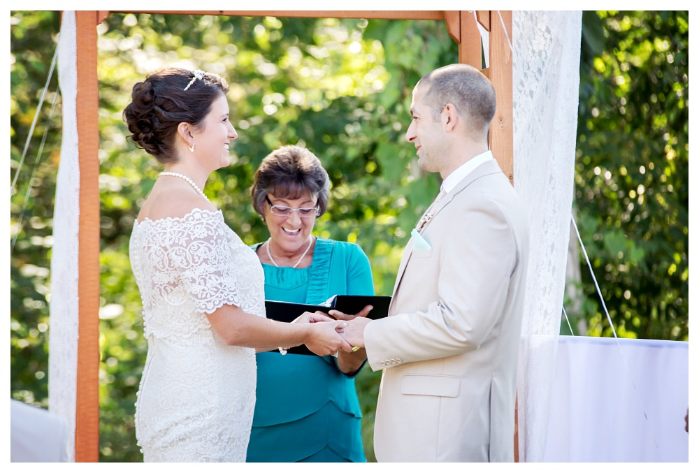 Maine Wedding Photographer Bethel outside ceremony lace