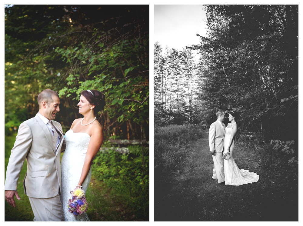 maine wedding photographer bethel woodsy bride and groom