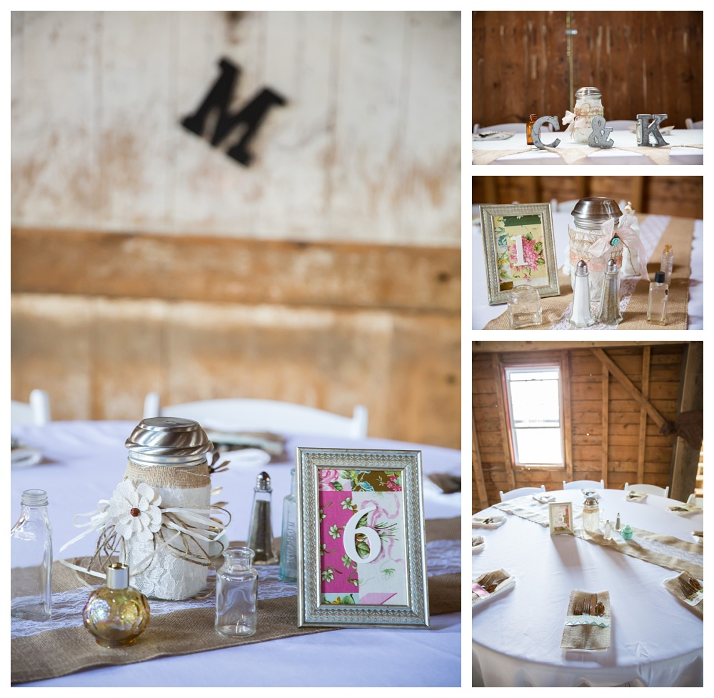 I love all the small touches that they used to keep their theme going throughout the Barn.... check out the M(their last initial) on the wall behind table 6 and the C&K on the head table!