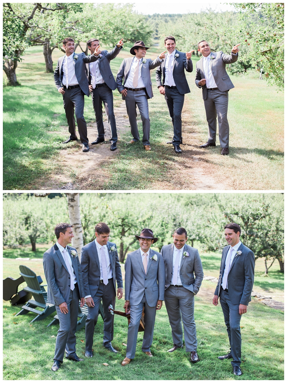 Maine Wedding Photographer groom and groomsmen Clarks Cove Farm