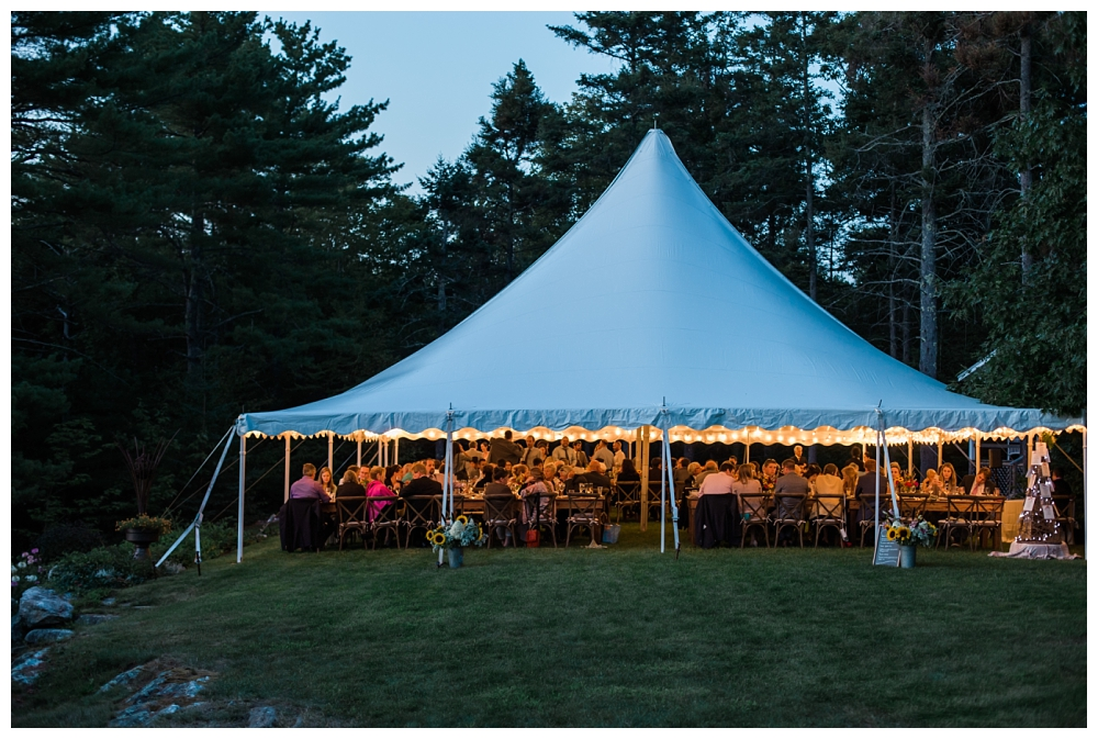 Maine Wedding Photographer Clark's Cove Farm & Inn gloaming tent at night