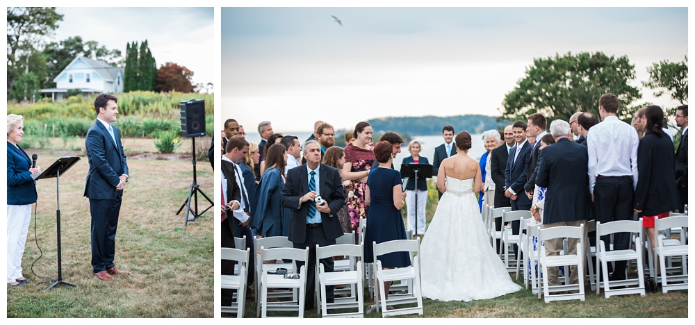 Maine Wedding Photographer Harpswell Ceremony Groom Bride