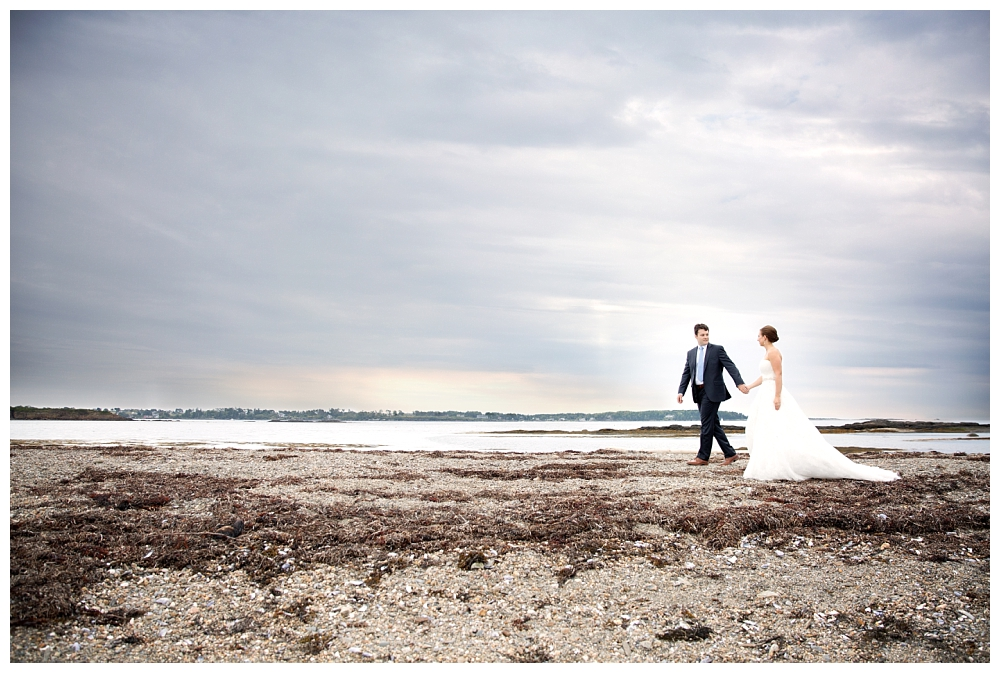Maine Wedding Photographer harpswell beach sunset bride and groom