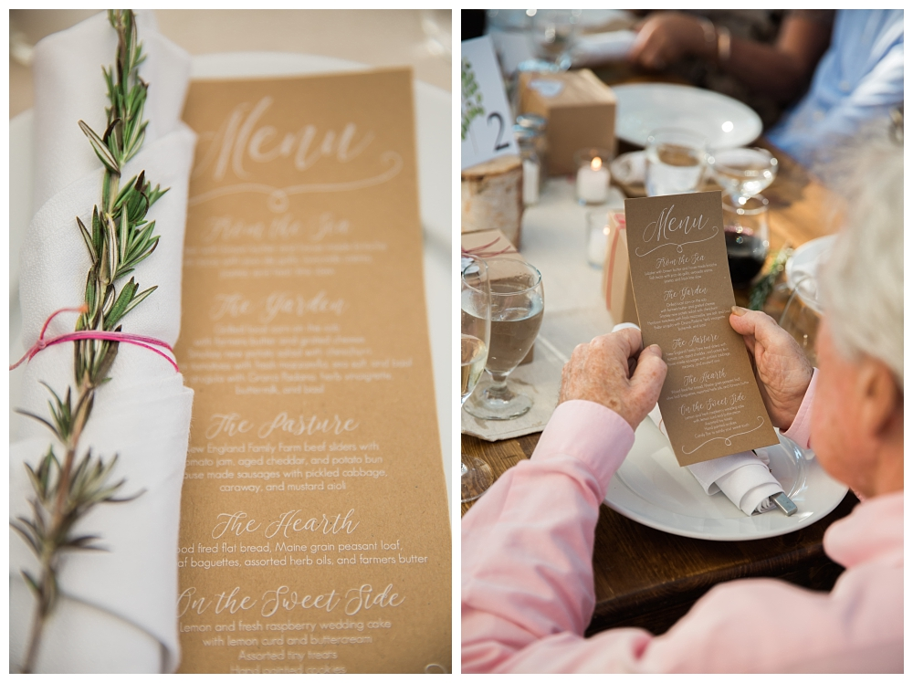 Maine Wedding Photographer The Bradley Inn New Harbor Reception menus