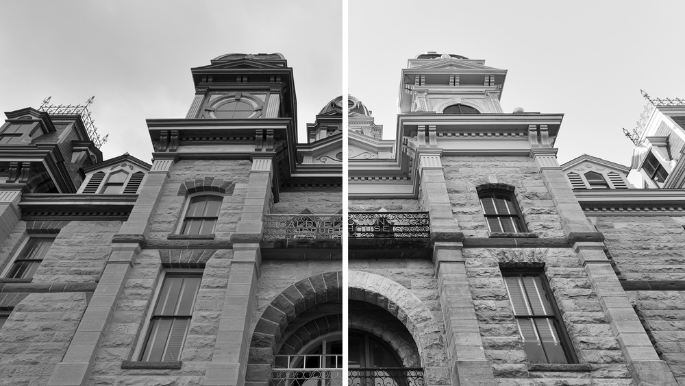 The Caldwell County Courthouse (left) and the Goliad County Courthouse (right)