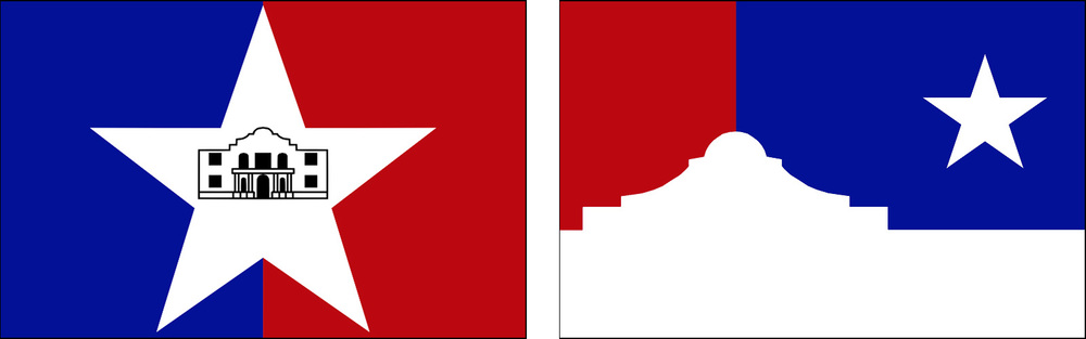 the existing flag of San Antonio (left) and the proposed update (right)