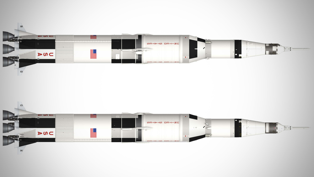 illustration of typical Saturn V paint scheme by Nick Stevens