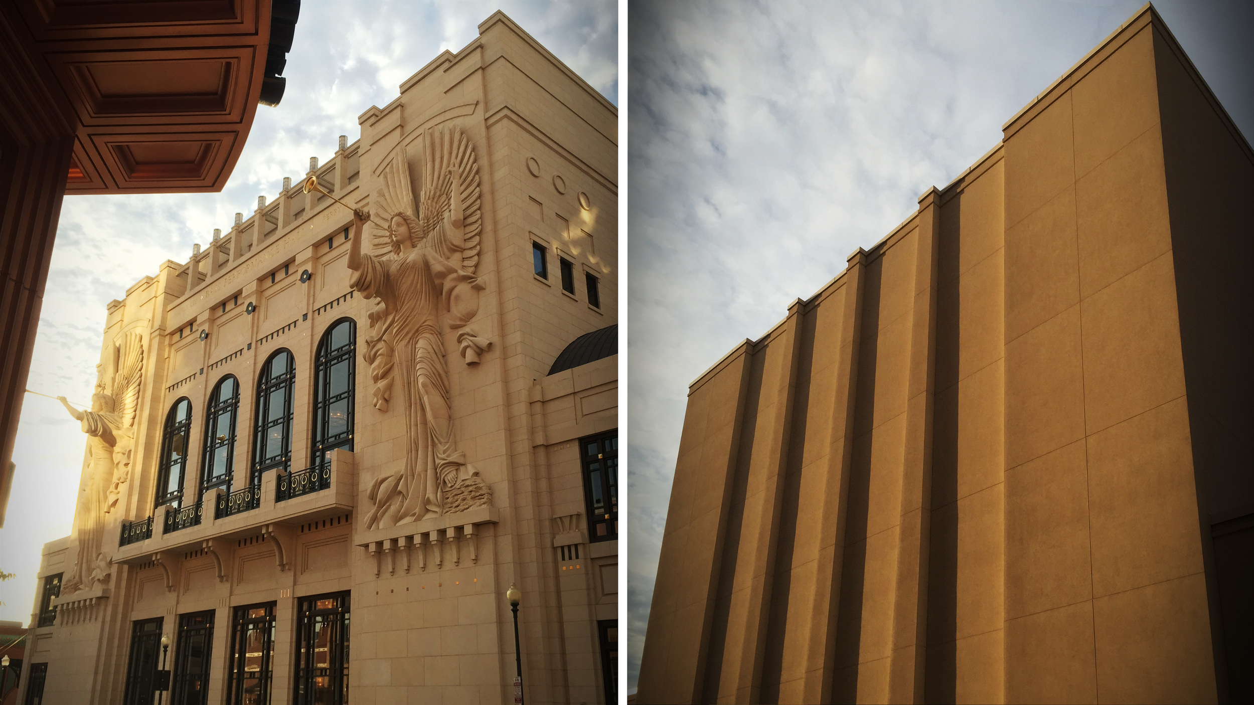 The front of Bass Performance Hall appears on the left while its rear appears on the right