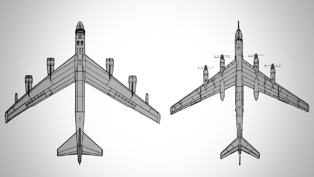 The American Boeing B-52 (left) and the Soviet Tupolev Tu-95 (right)