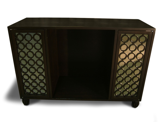 Credenza Dark : Dark brown varnished mahogany wood mid century credenza with iron