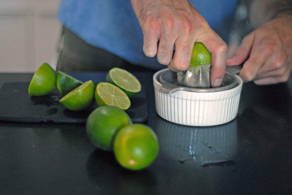 juicing limes for a mai tai