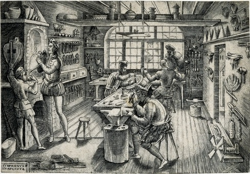 Etienne Delaune, Goldsmith's Workshop, Engraving, 1576, print 2.jpg