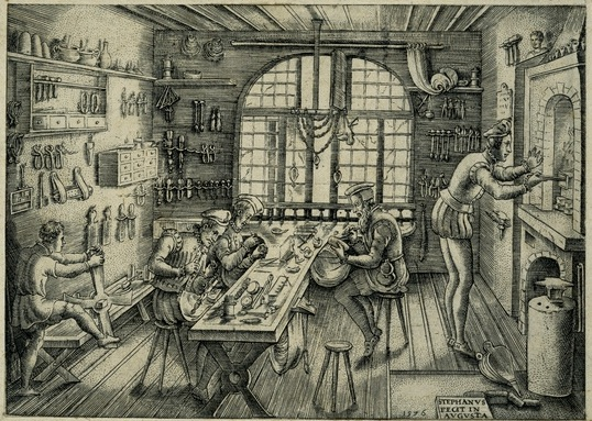 Etienne Delaune, Goldsmith's Workshop, Engraving, 1576, print 1.jpg