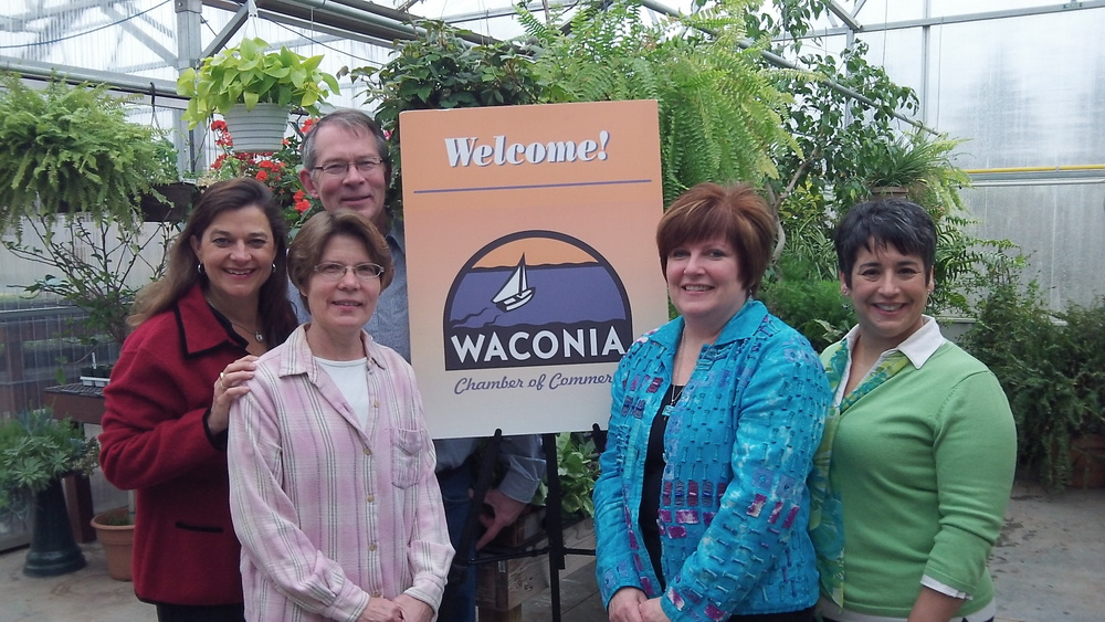 (L to R) Gina Holman, J. Carver Distillery Manager, Avis and Randy Hammer, Owners of Willow Winds Gardens, Kellie Sites, Chamber President, and Carmen Gesinger, Chamber Marketing & Communications Specialist