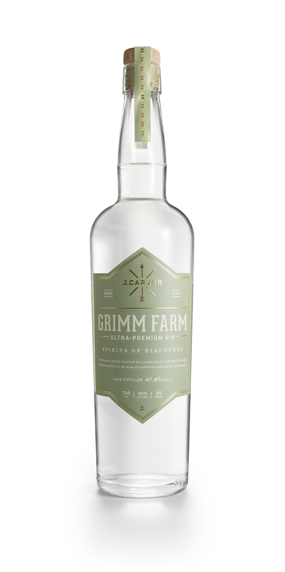 "Grimm Farm Ultra-Premium Gin  Named after Carver County's legendary Wendelin Grimm, this ""gin-lover's gin"" stands alone in its use of two botanicals unique to Minnesota - Grimm's everlasting clover and wild rice. Based on Lake House Vodka and distilled with the flavors of twelve other botanicals including cardamom, orris root and grains of paradise, this 92-proof gin makes any martini or pre-prohibition cocktail stand out. 92 proof  In 1859, immigrant German farmers Wendelin and Julianna Grimm purchased a plot of land in Northern Carver County. Among the possessions they brought from their native country was a small, wooden box containing the seeds of ""ewiger klee"" - German for everlasting clover - which they planted on the farm. For the next fifteen years Wendelin Grimm religiously collected and planted seeds from the plants that survived the harsh Minnesota winters. This selection practice - called seed saving - resulted in the first winter-hardy alfalfa in North America. Grimm's alfalfa not only helped make Carver County a premier dairy belt, but it has become the basis of the alfalfa used on more the 25 million acres in the United States. Grimm Farm is now a historic site in Three Rivers Park District in Victoria, Minnesota, just a few miles east of the distillery."