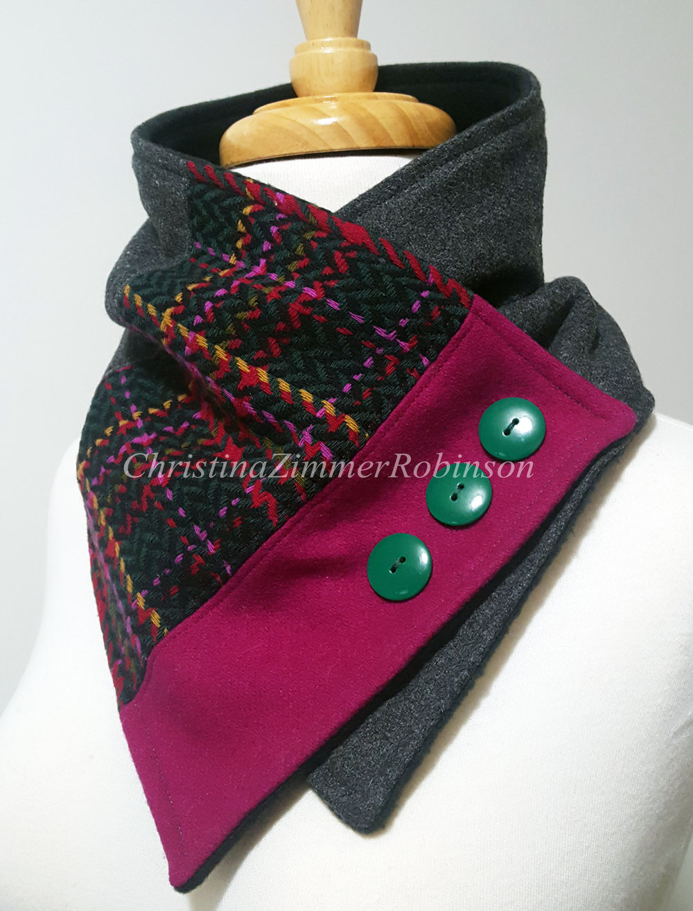 Neck Warmer, Neckwarmer, Scarf, Upcycled, Reconstructed, Fuchsia with Green Buttons