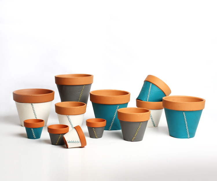 LEATHER-WRAPPED PLANTERS