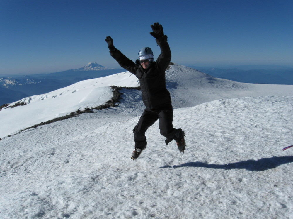 My crazy friend Denise Whitaker, doing burpees on top of Mount Rainier!