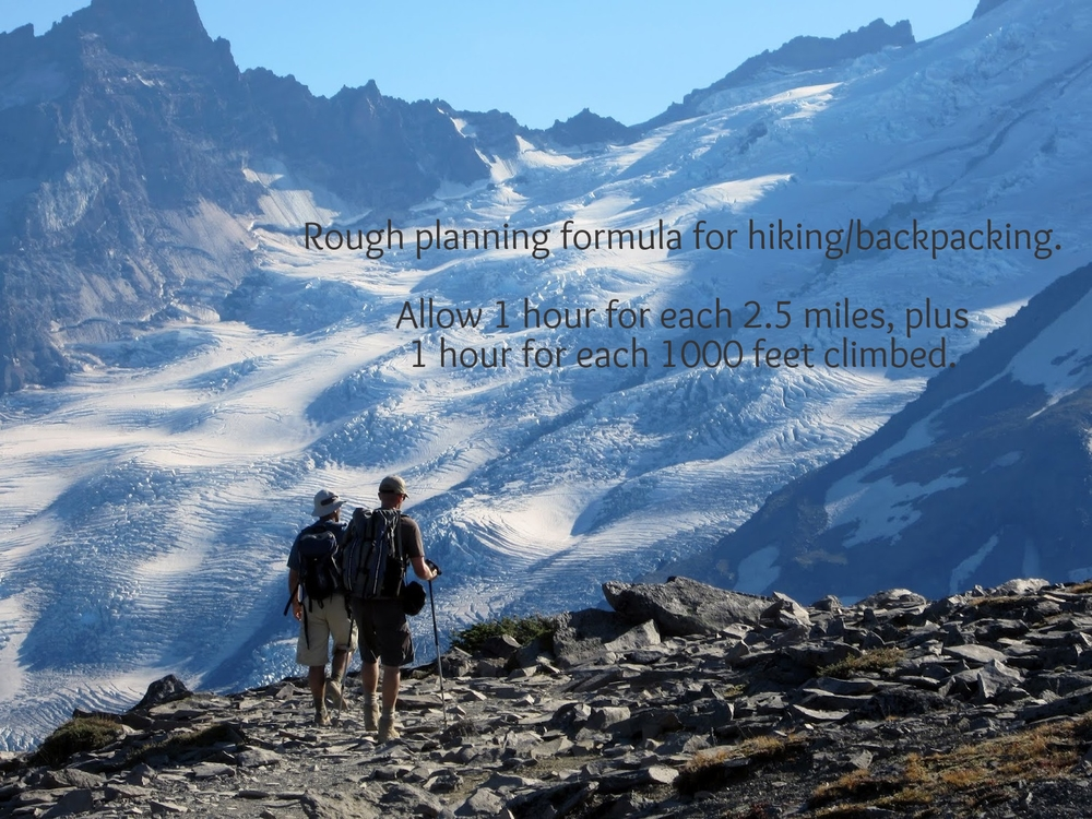 Hikers on curtis ridge, looking out over the emmons glacier. mount rainier, washington.