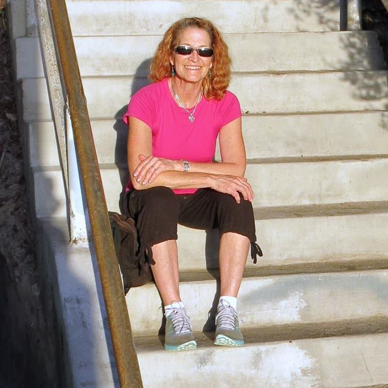Kimberly at stairs workout.