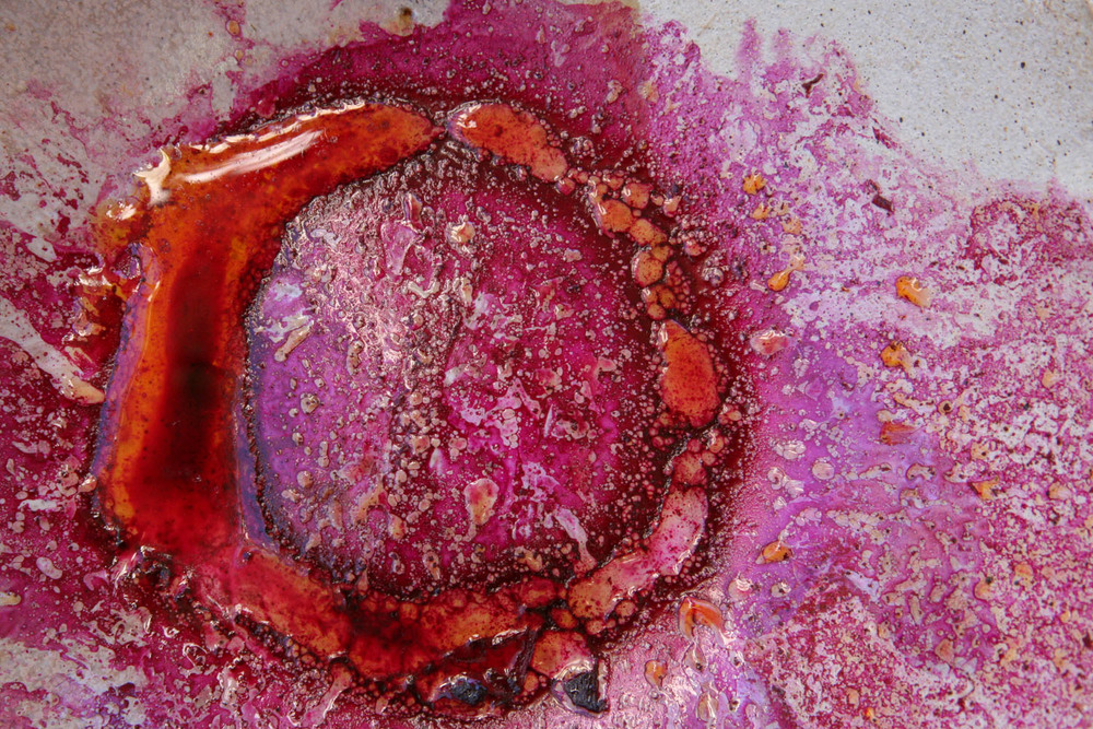 At the bottom of the bowl - beet juice and oil