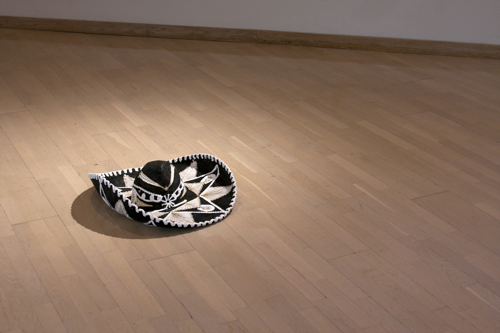 Floor Sombrero.  2010. Found object, gesso, paint. 10''x24''x24''  Photo:  Mikayla Whitmore