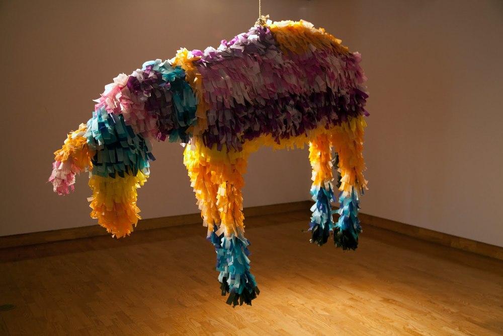 Donkey Piñata . 2010. mixed media. 4.5'x6'x2.5'  Photo:  Krystal Ramirez