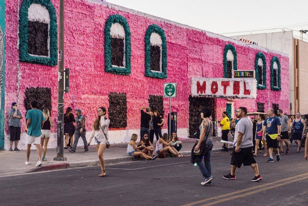 Piñata Motel , 2016, paper and glue on existing motel.  Photo: Krystal Ramirez