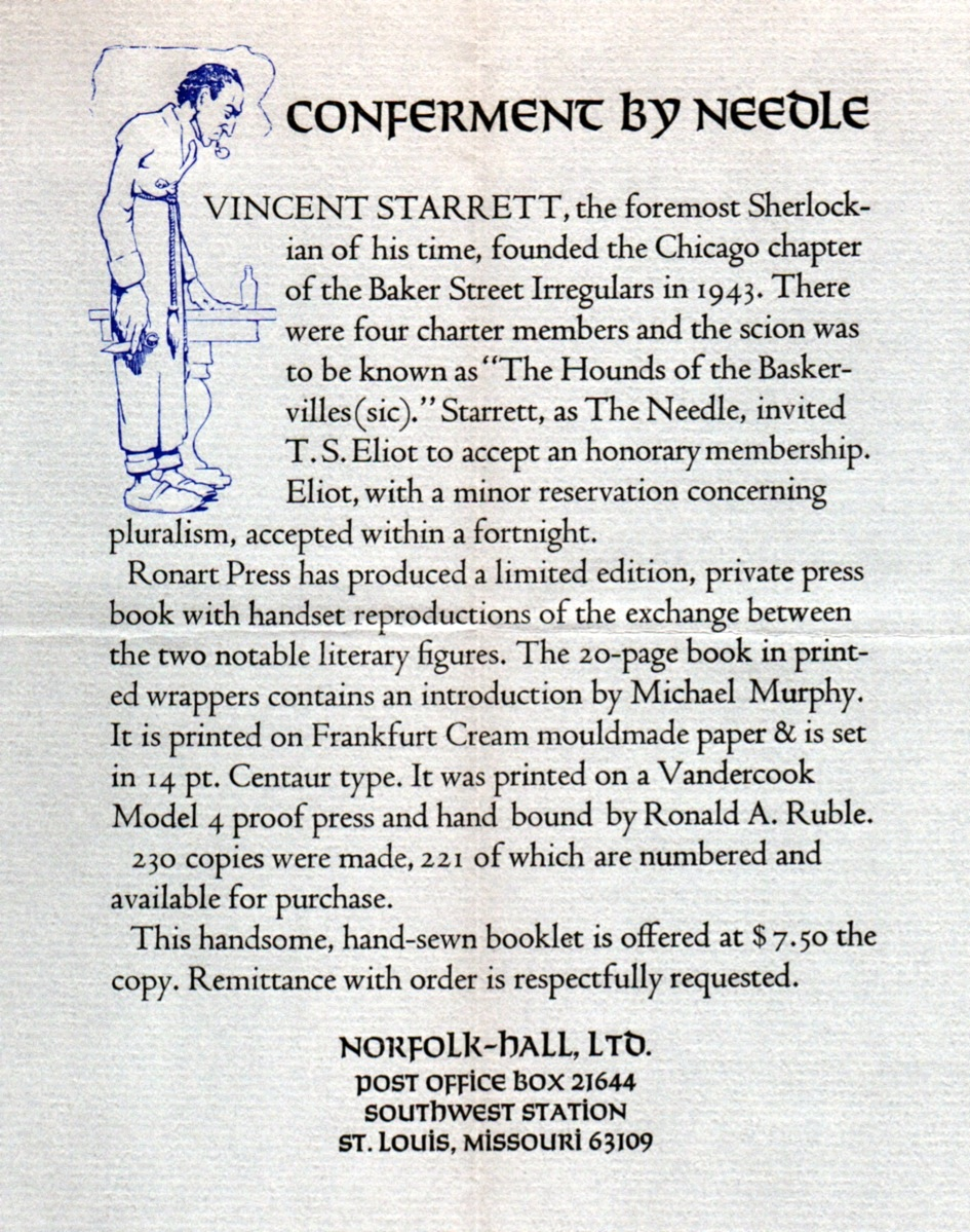 An advertisement for  Conferment by Needle , a 1980 booklet by Michael Murphy about the Sherlockian relationship between Starrett and T.S. Eliot.