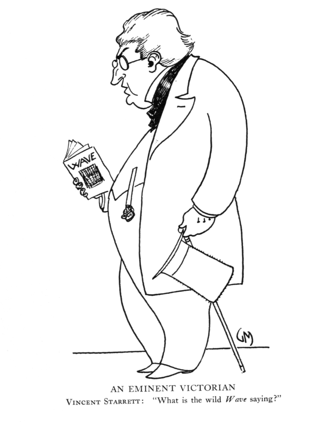 From  Literary Lights: A Book of Caricatures  by Gene Markey. Starrett is shown carrying a copy of The Wave, a little literary magazine that he edited and which had a spotty publishing history.