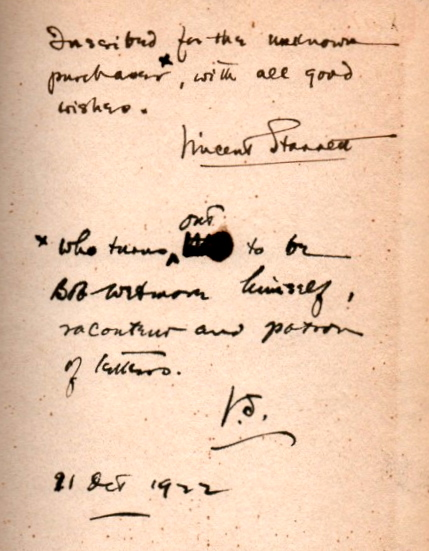 The inscription from a rare copy of Starrett's little biography of Ambrose Bierce.