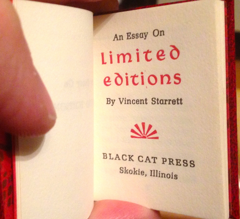 The title page for  An Essay on Limited Editions  from May, 1982.