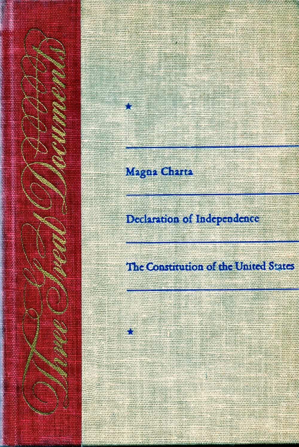 The cover of Three Great Documents.