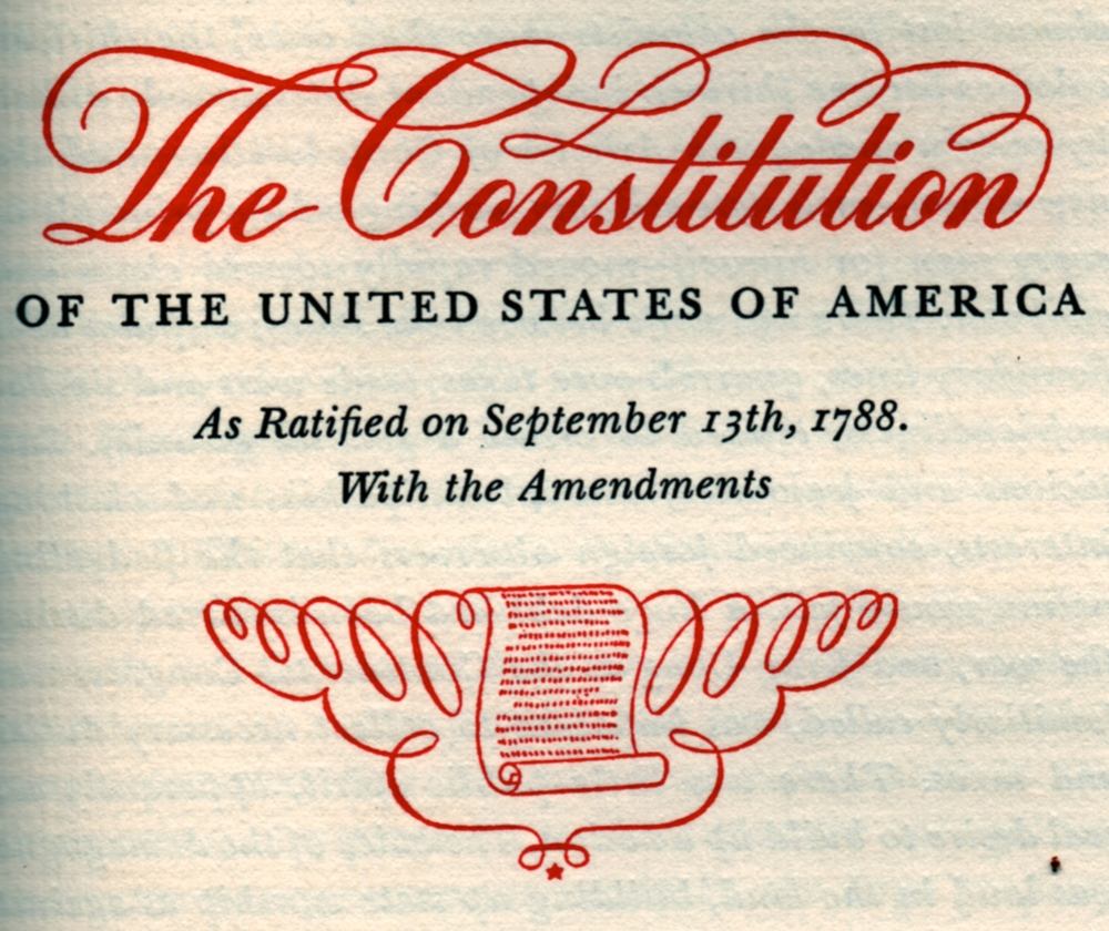 The introductory artwork for the section on the U.S. Constitution.