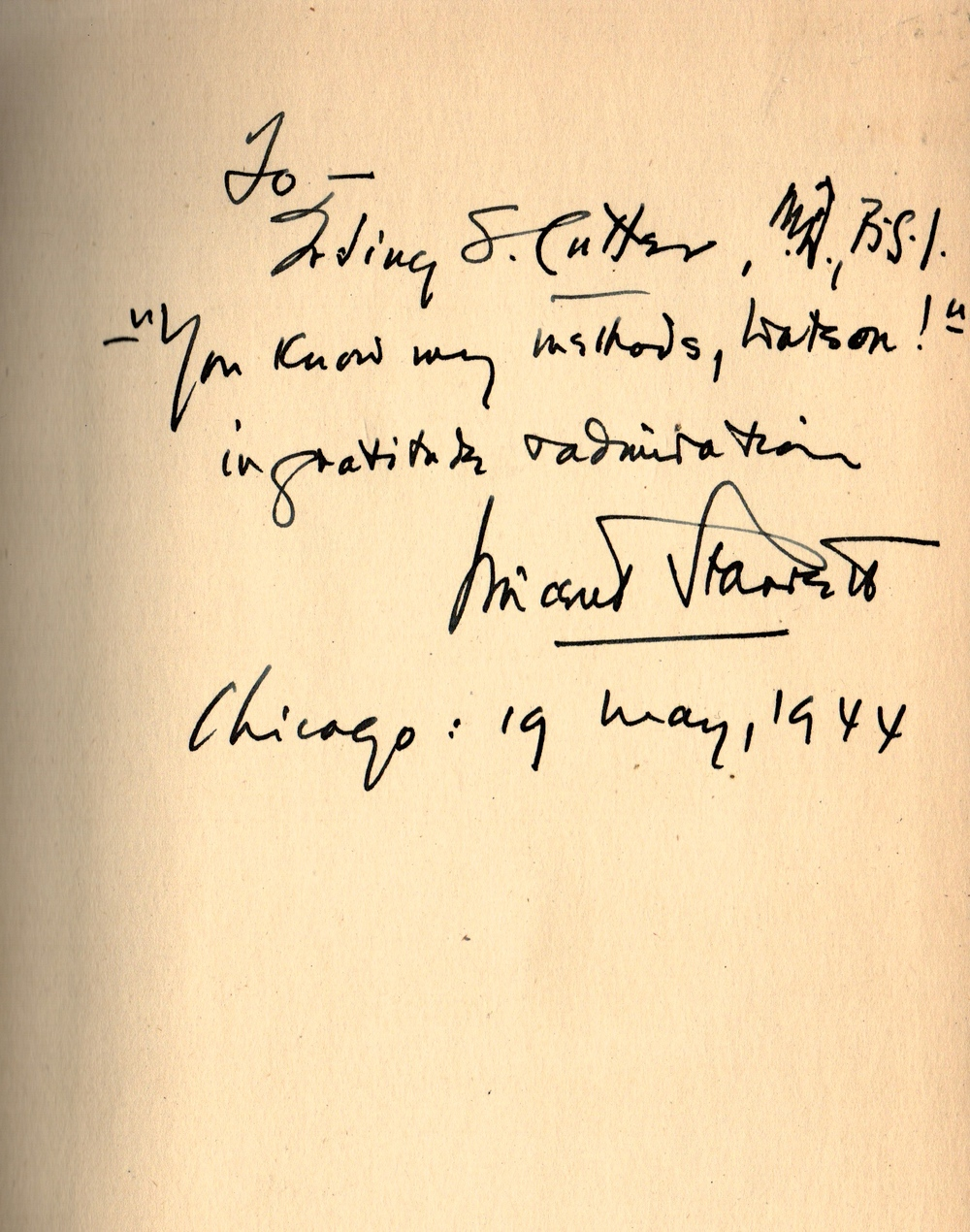 The inscription to Dr. Irving Cutter from a copy of Vincent Starrett's The Case-Book of Jimmie Lavender.